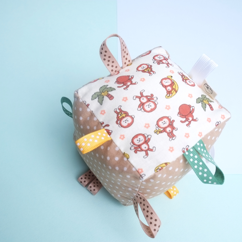 Rattle Cube Sensory Toy- Monkey Swinging Fun
