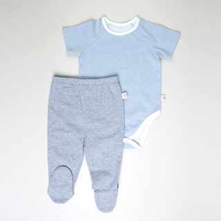 Baby Basics -  Short sleeves Grey  with Pants footies
