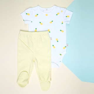 Baby Basics -  Short sleeves Pineapple  with Pants footies