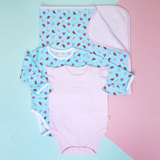 Baby Onesies with Blanket- Watermelon Pink Teal