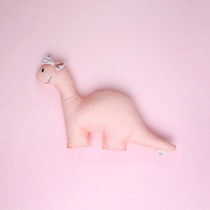 Dusty Pink Rattle Dino Plush Toy