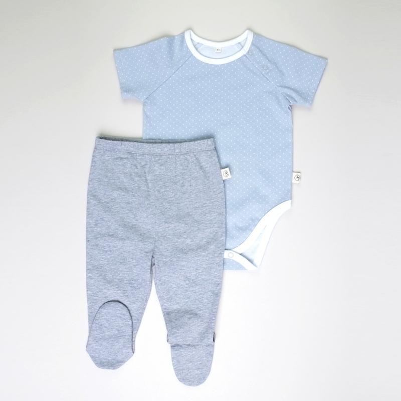 Baby Basics -  Short sleeves Grey  with Pants footies