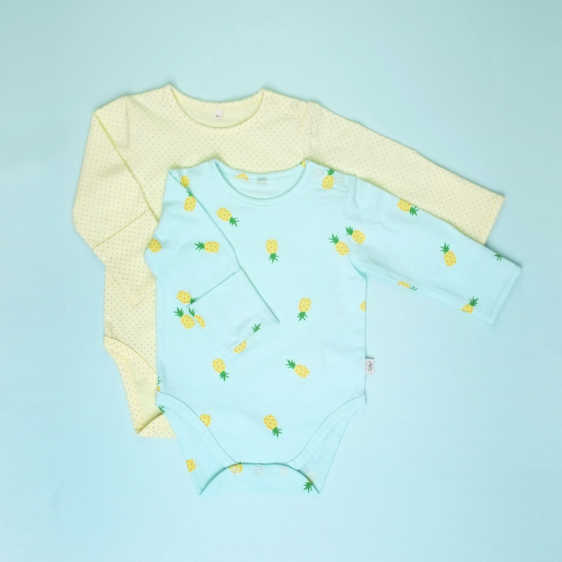 Baby Basics - Long sleeve duo Pineapples Mint