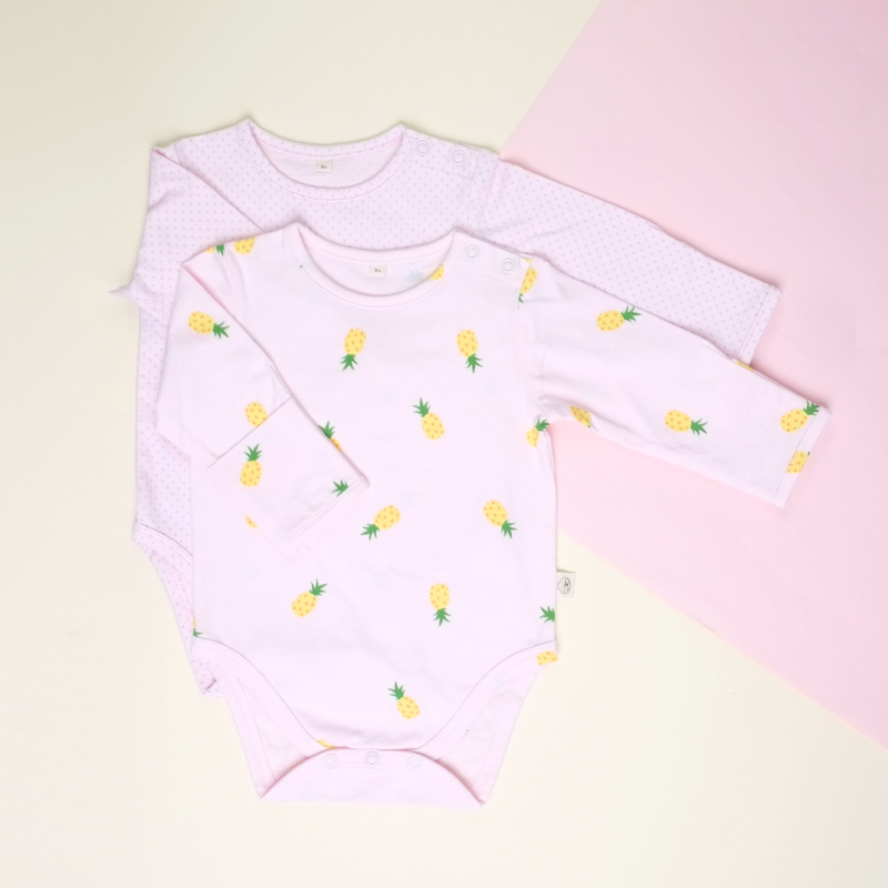Baby Basics - Long sleeve duo Pineapples Pink