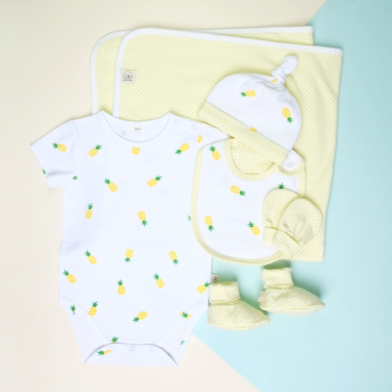 Baby Layette with Blanket- Pineapples