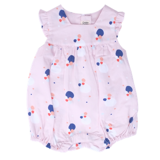 Baby Girl's Bubble Flutter Sleeve Romper - Pink Confetti