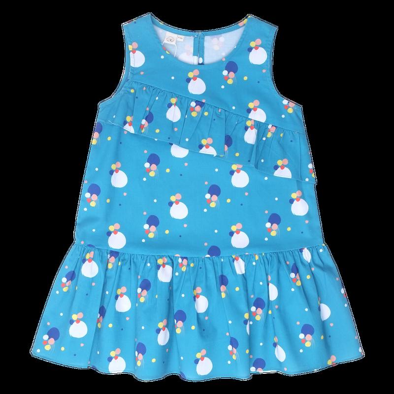 Teal Confetti Asymm Dress