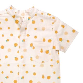 Boy's Mandarin Shirt - Ji-Oranges Beige