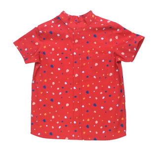 Boy's Mandarin Shirt - Festive Geometric Red