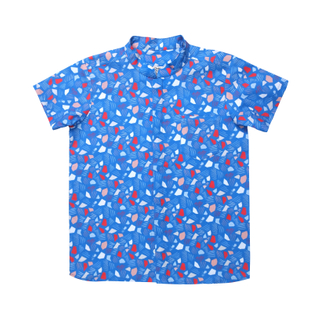 Boy's Mandarin Shirt - Spring Gems - Blue