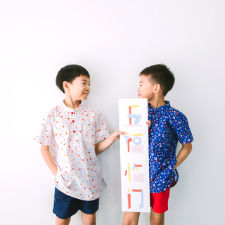 Boy's Knot Shirt - Playful Blocks - Pastel