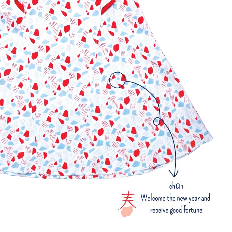 Flutter Flare Cheongsam - Spring Gems - White