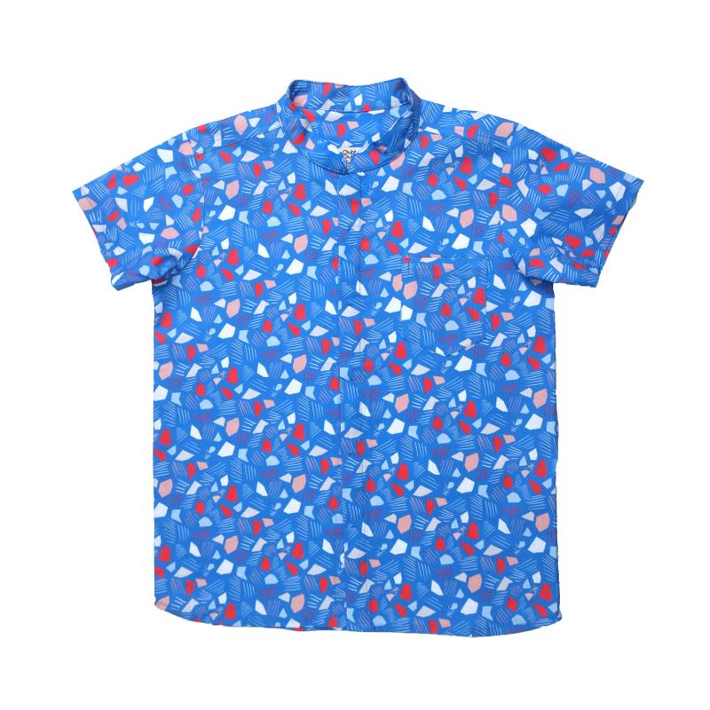 Daddy's Mandarin Collar Shirt - Spring Gems - Blue