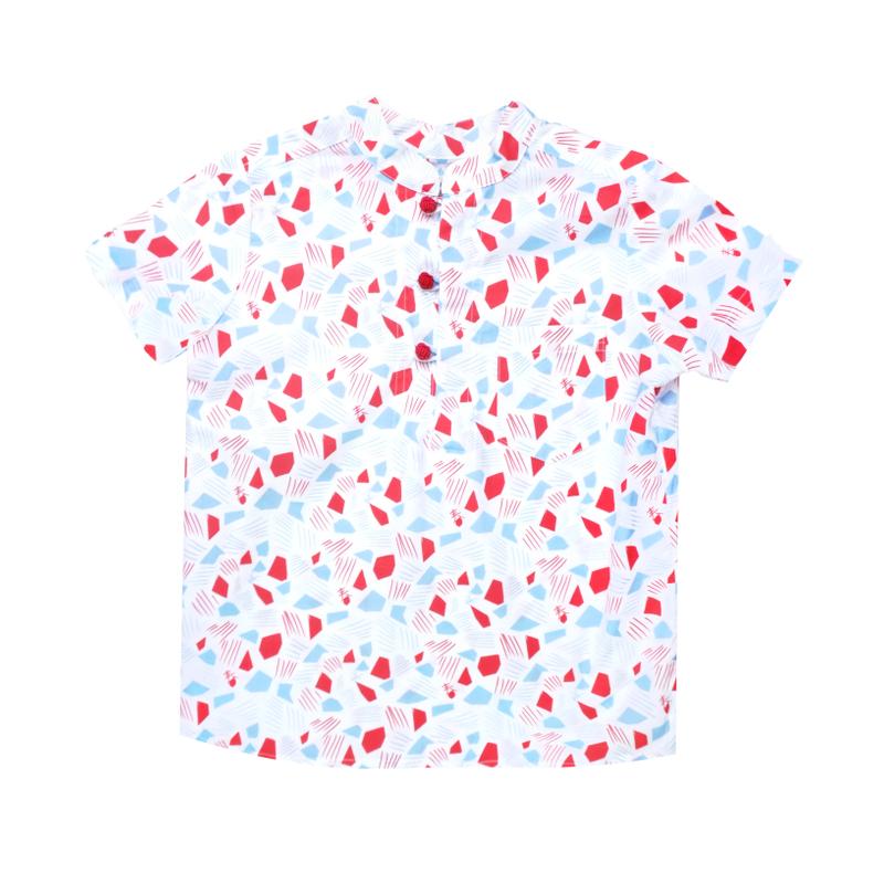 Boy's Knot Shirt - Spring Gems - White