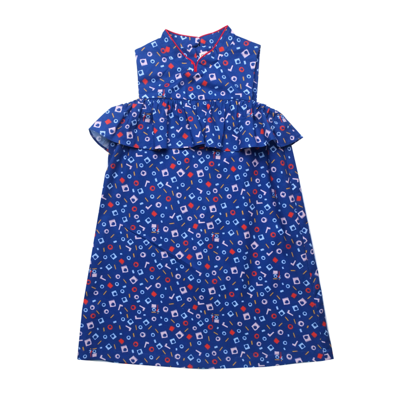 Ruffles Cheongsam - Playful Blocks Blue
