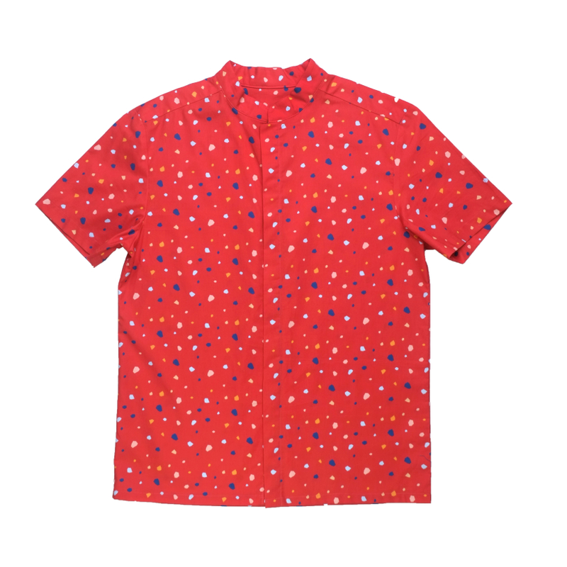 Daddy's Mandarin Collar Shirt - Festive Geometric Red