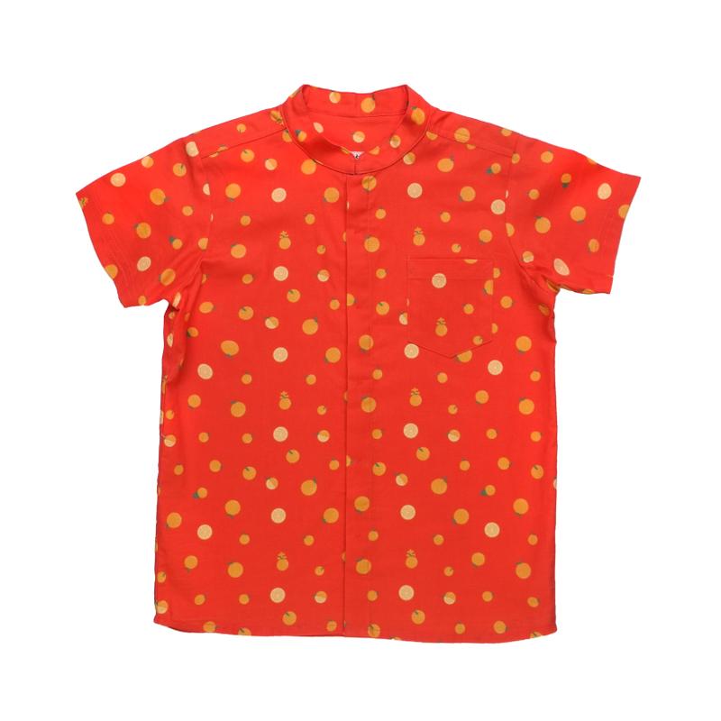 Daddy's Mandarin Collar Shirt - Ji- Oranges