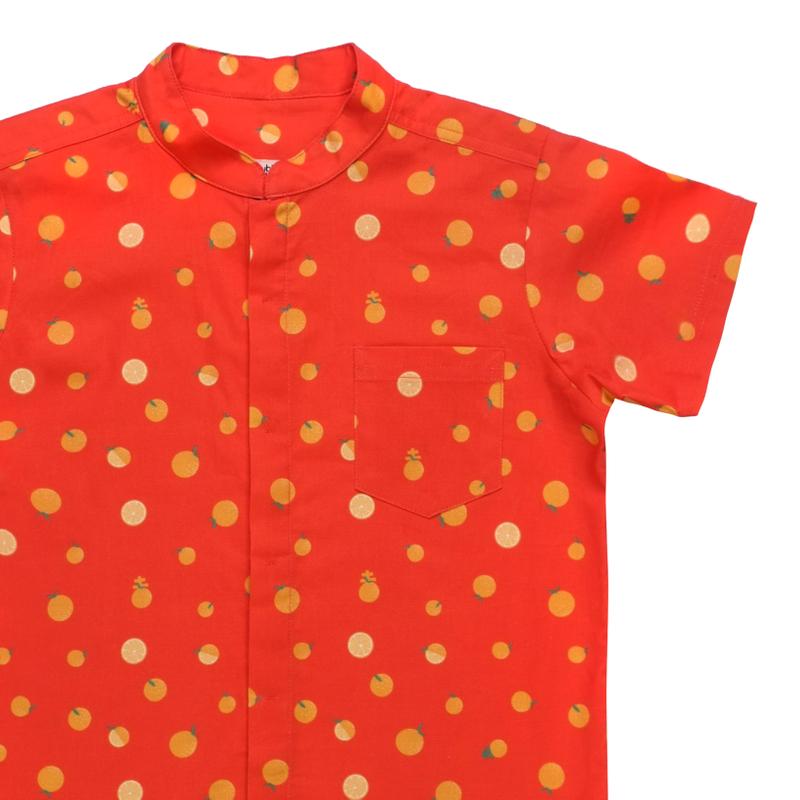 Boy's Mandarin Shirt - Ji- Oranges