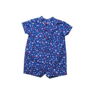 Baby Boy Knot Romper - Playful Blocks -Blue