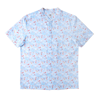 Daddy's Mandarin Collar Shirt -Plentiful Fish - Blue
