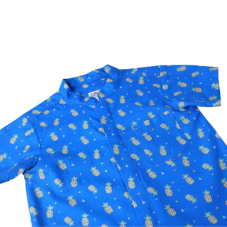 Boy's Mandarin Shirt - Wang Pineapple Blue