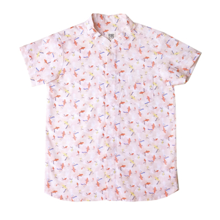 Boy's Mandarin Shirt - Plentiful Koi - Coral