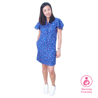 Mommy's Shirt Cheongsam - Playful Blocks -Blue
