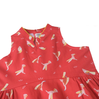 Halter Baby Doll Cheongsam - Prosperity Bird Red
