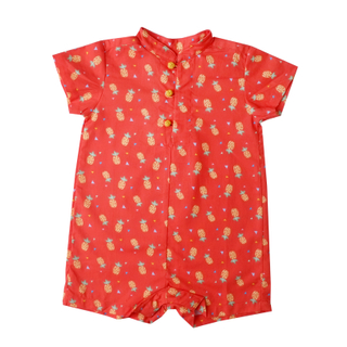 Baby Boy Knot Romper - Wang Pineapple - Orange