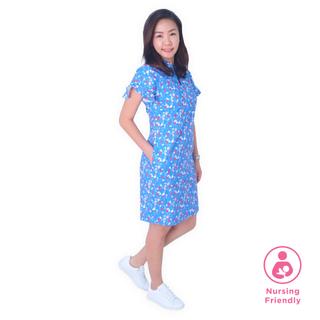 Mommy Flutter Raglan Cheongsam - Spring Gems -Blue