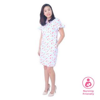 Mommy Flutter Raglan Cheongsam - Spring Gems - White