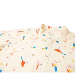 Boy's Mandarin Shirt - Prosperity Bird - Yellow