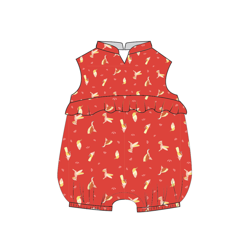 Baby Girl's V Romper  - Prosperity Bird - Red