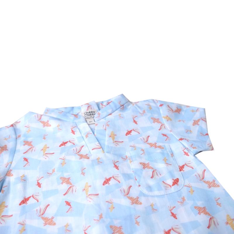 Baby Boy V Neck romper - Plentiful Fish - Blue