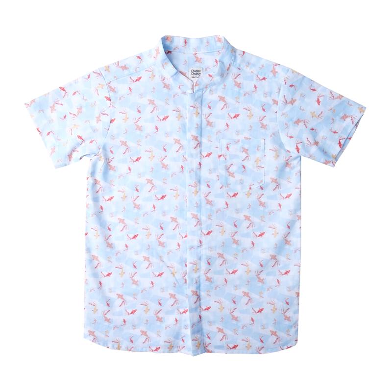 Boy's Mandarin Shirt - Plentiful Koi - Blue