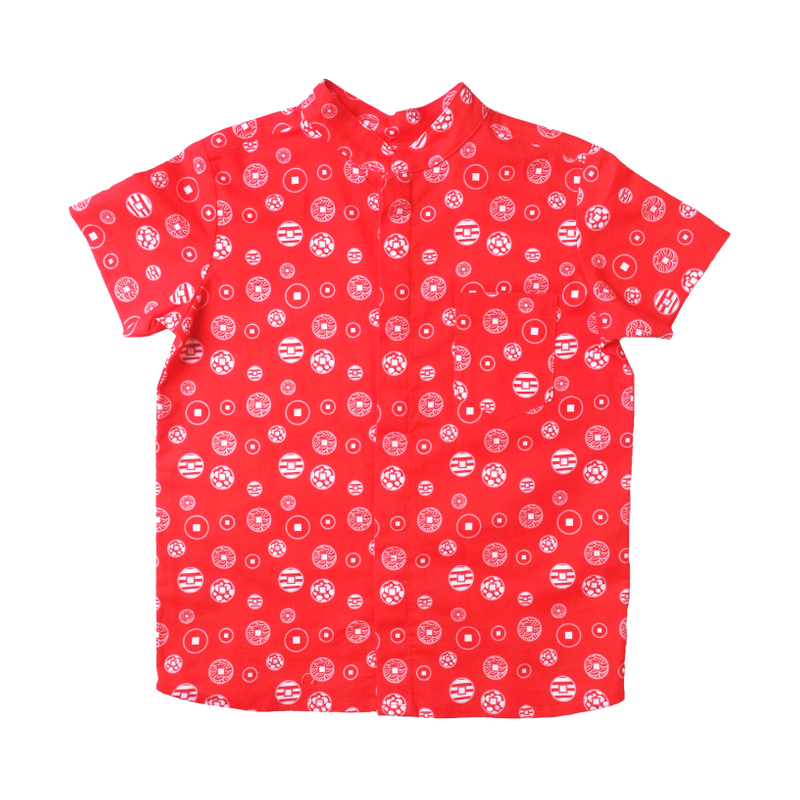 Boy's Mandarin Shirt - Fortune Coins Red