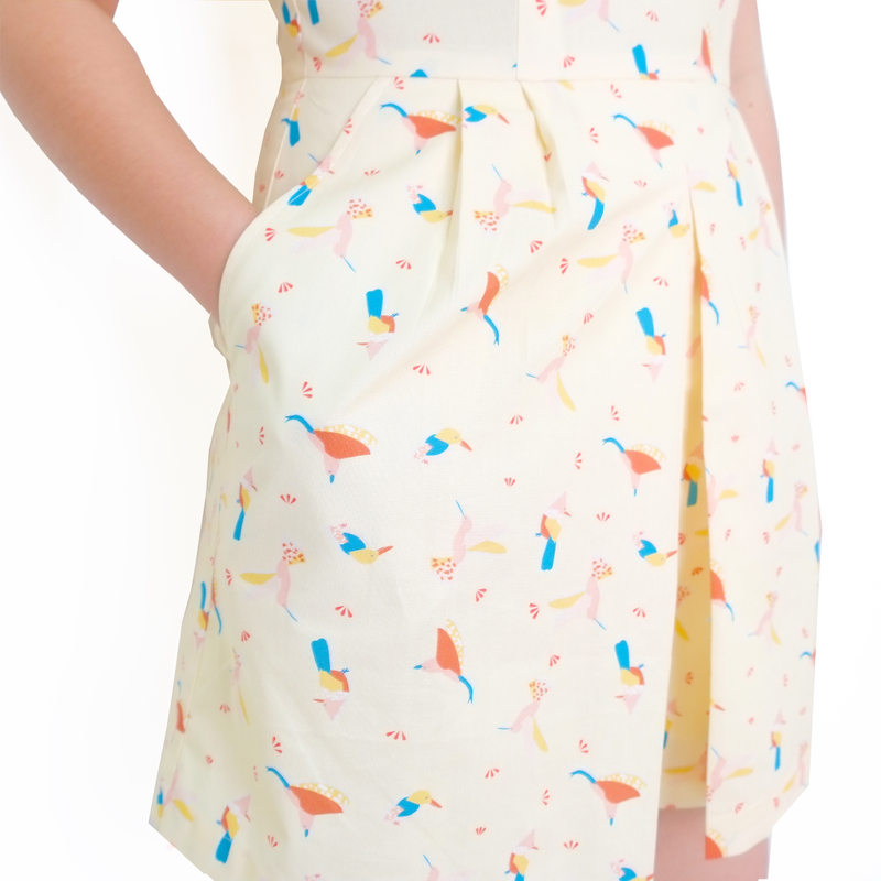 Mommy's V-Neck Playsuit - Prosperity Birds - Yellow