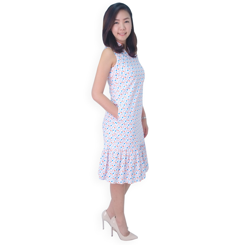 Mommy's V-Neck Midi Cheongsam - Joyful Triangles
