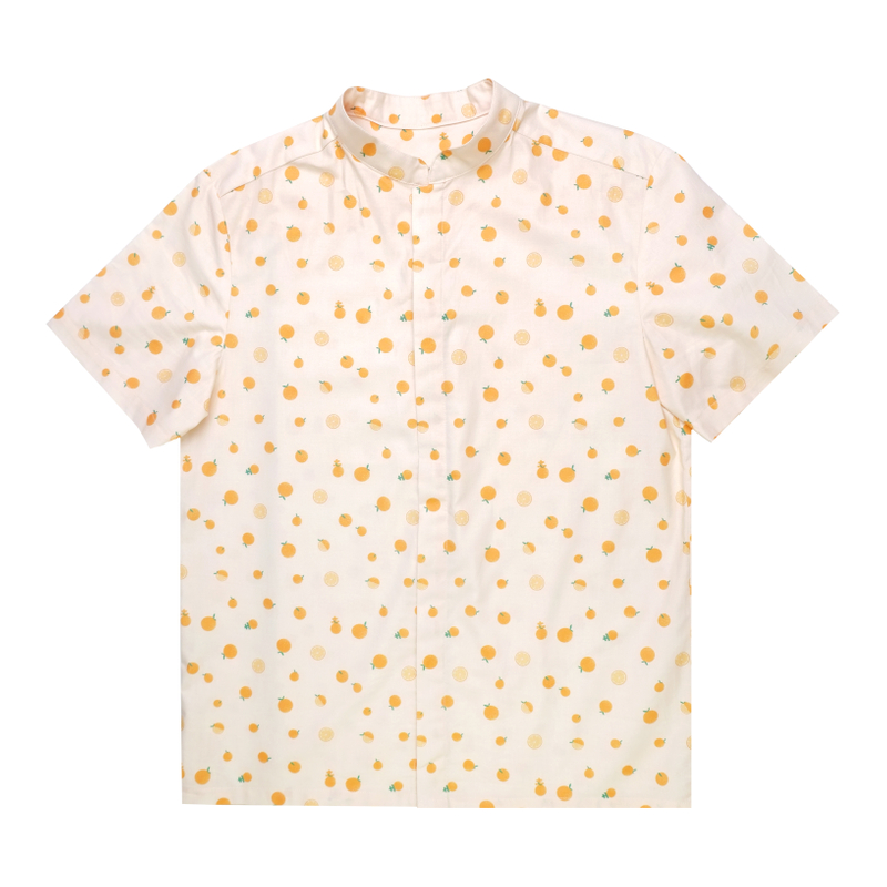 Daddy's Mandarin Collar Shirt - Ji-Oranges Beige