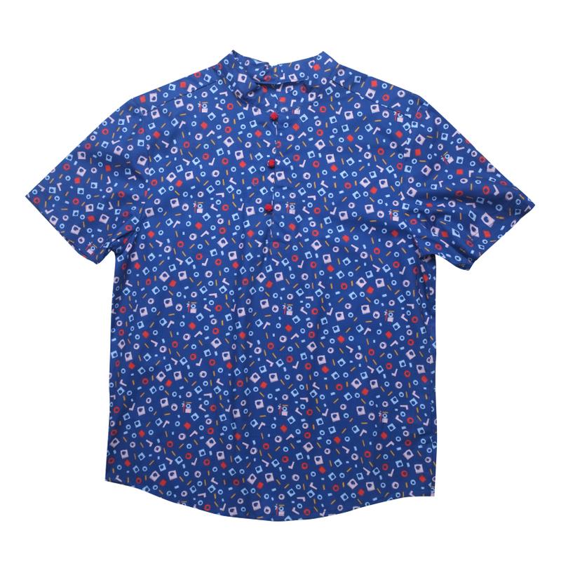 Daddy's Knot Shirt - Playful Blocks -Blue