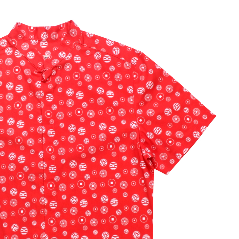 Daddy's Mandarin Collar Shirt - Fortune Coins Red