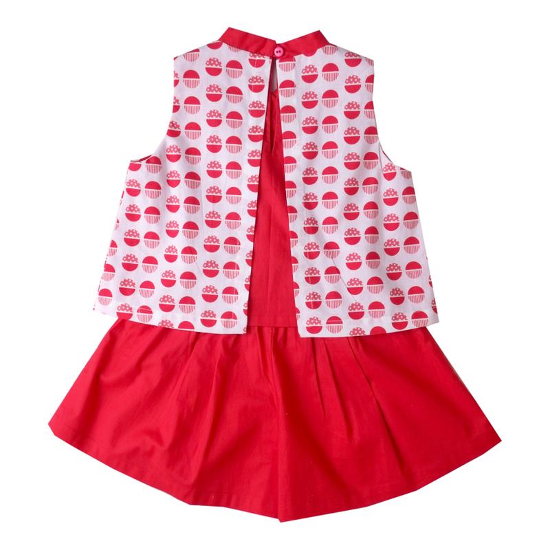 Girl's Kimono Set - Red Orange Circles