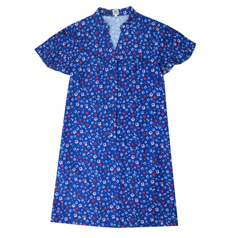 Mommy's Shirt Cheongsam - Playful Blocks -Blue