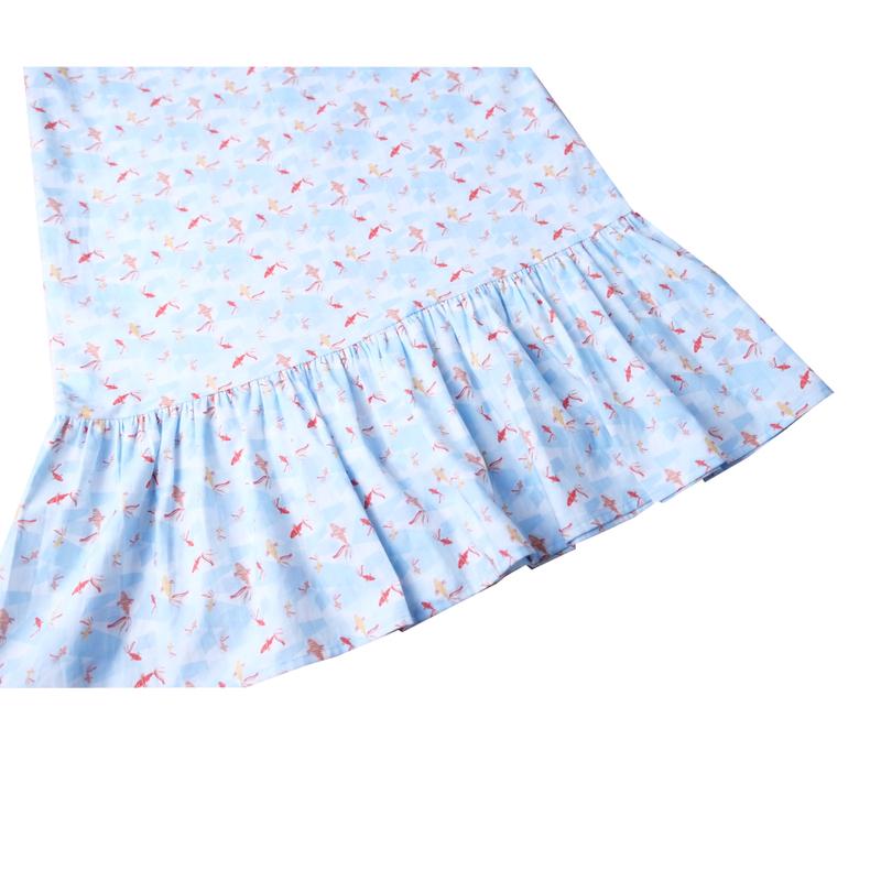 Mommy's V-Neck Midi Cheongsam - Plentiful Koi Blue