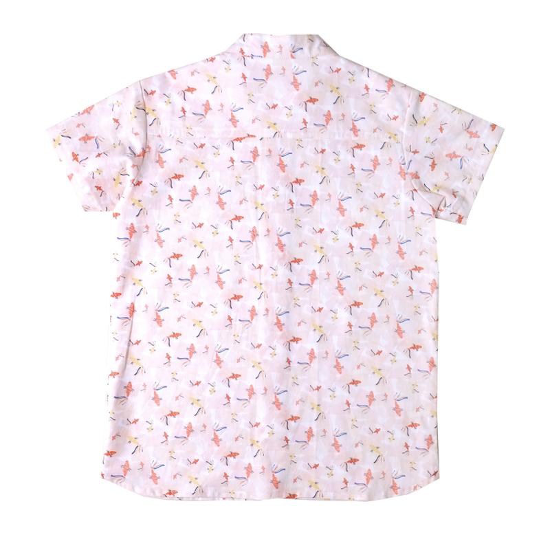 Boy's Mandarin Shirt - Plentiful Koi - Coral