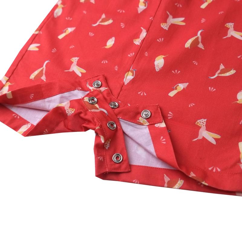 Baby Boy Knot Romper - Prosperity Birds - Red