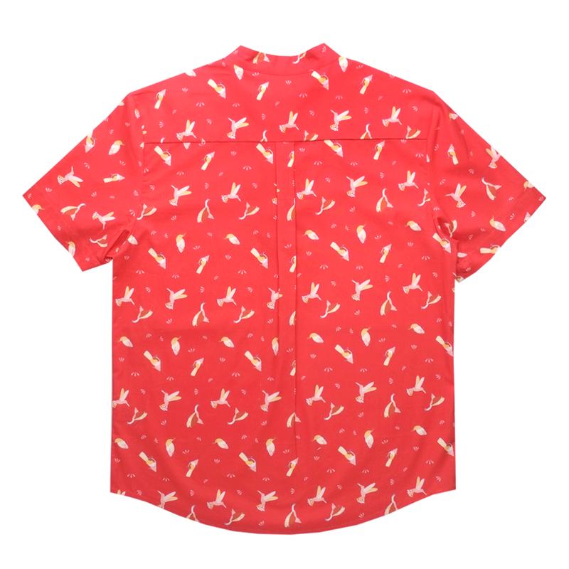 Daddy's Knot Shirt - Prosperity Birds - Red