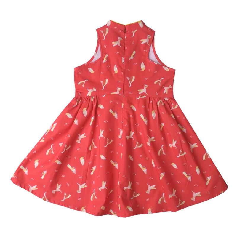 Halter Baby Doll Cheongsam - Prosperity Bird Red