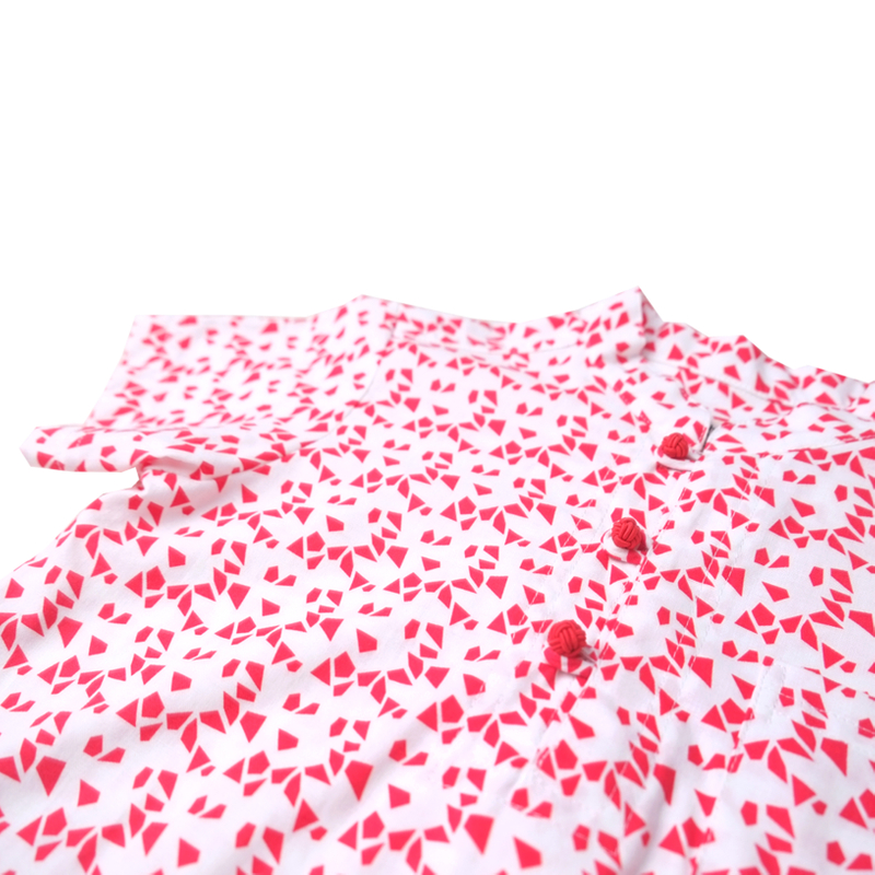 Boy's Knot Shirt - Red geometrics