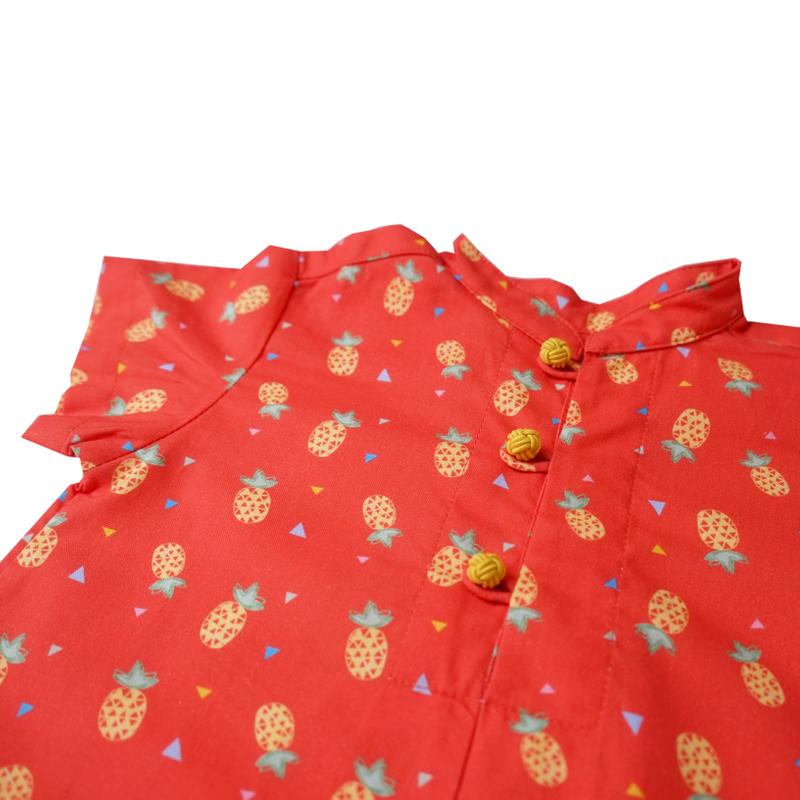 Baby Boy Knot Romper - Wang Pineapple - Orange